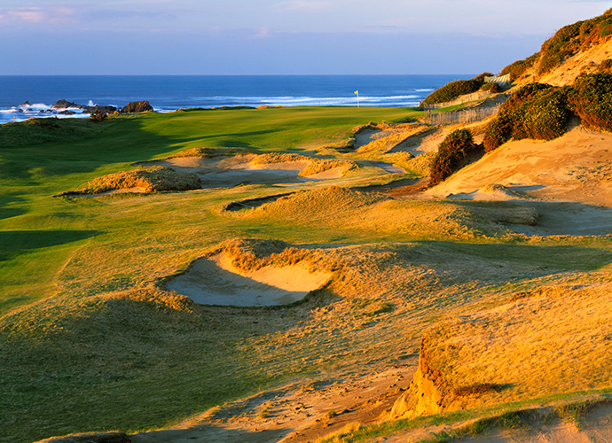 Bandon Dunes Golf Resort, Bandon, Ore. 888-345-6008, bandondunes.com: The Oregon gem didn't take long to become a legend. The oldest of its four full-length courses is only 14, but Bandon Dunes already has a place in our golf psyches. There's something about its mix of earth and sea and sky that thrills. Although Bandon finished No. 2 overall, it won the coveted top spot in the Golf rankings. And this year, reviewers rave about Bandon's new small-ball offerings: Bandon Preserve, a brilliant 13-hole par-3 course courtesy of Bill Coore and Ben Crenshaw, and The Punchbowl, America's most entertaining putting course. This 3.5-acre gathering place -- or is it a watering hole? -- features drink holders at every tee.
