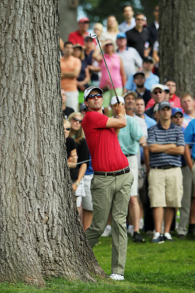 Adam Scott plays his second shot on the sixth hole during the third round of the Barclays at the Ridgewood Country Club on Saturday.