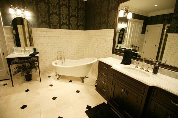 The bathrooms have ceramic tile.