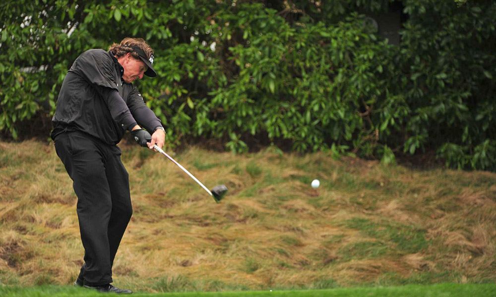 Rarely was it rough going for Phil Mickelson in the final round, when Lefty -- despite this choppy moment -- shot a bogey-free 64 to come from six strokes down to win the AT&T Pebble Beach National Pro-Am and become the ninth player to reach 40 PGA Tour victories.