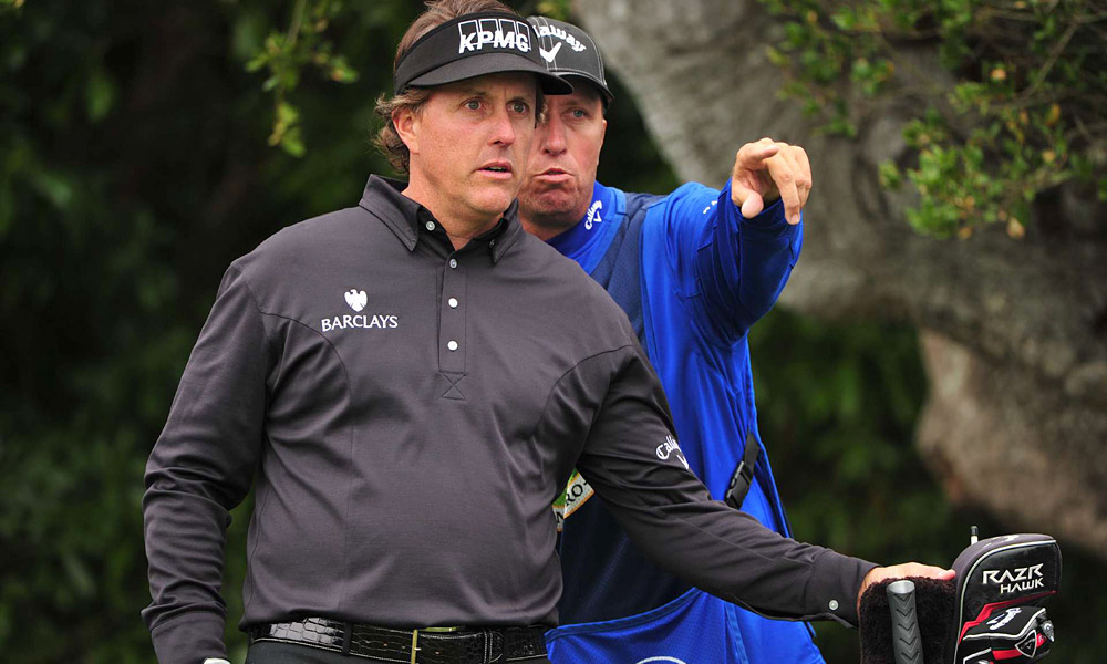 Longtime caddie Jim Mackay helped Mickelson dial in on Sunday to shoot his second-best round ever at Pebble.