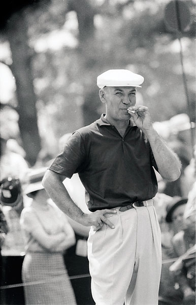 Ben Hogan smokes during the 1960 Masters. Hogan finished tied for sixth at +1, seven strokes behind Arnold Palmerm who won his second Masters at -6, one shot better than Ken Venturi.