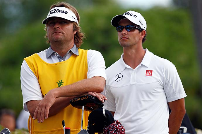 """I have no nerves because for one, he's so good, it's embarrassing.  Like every single shot is what you see on SportsCenter, especially that last one.""                       --Pro surfer Benji Weatherley on caddying for surfing buddy Adam Scott."