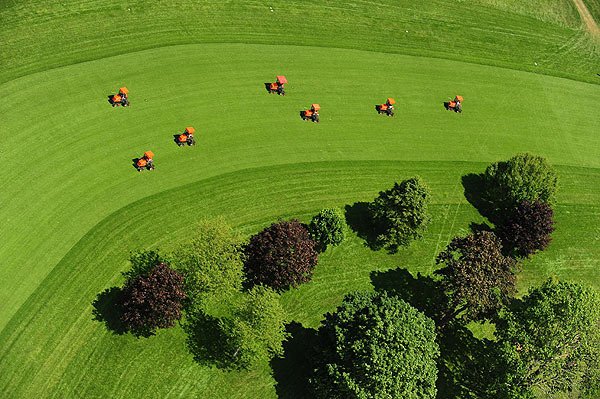 Aerial photographs of Bethpage Black                           Sports Illustrated photographer Fred Vuich took these shots out of an open door of a helicopter over Bethpage State Park                                                                                 Lawn mowers were out to tend to the fairway on the first hole.Video: Flyover of No. 1 at Bethpage Black