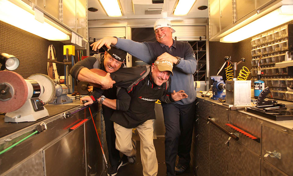 "Brian Beatty, Mark Berry and Christian Cervantes, Tour reps, Adams Golf                           Tour reps tend to be spindly fellows, who grunt lifting a staff bag, but the Adams reps (from left: Cervantes, Berry and Beatty) average 6'&nbsp4"" and 245 pounds, and look like they just broke out of a Dallas Cowboys huddle. (""But really nice guys,"" says an industry insider.) Tour players go to the Big Boys for that one-off hybrid club that's hidden by another company's headcover"