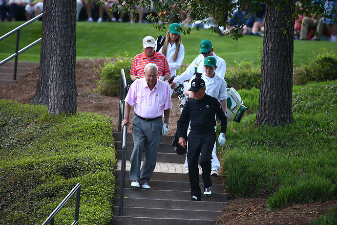 Arnold Palmer, Gary Player and Jack Nicklaus steal the show at the Par 3 Contest every year.