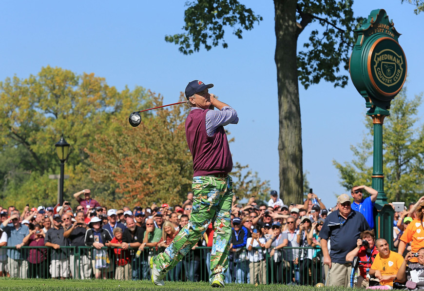 Bill Murray teed off Tuesday in the U.S. Ryder Cup Past Captain/Celebrity Scramble at Medinah.