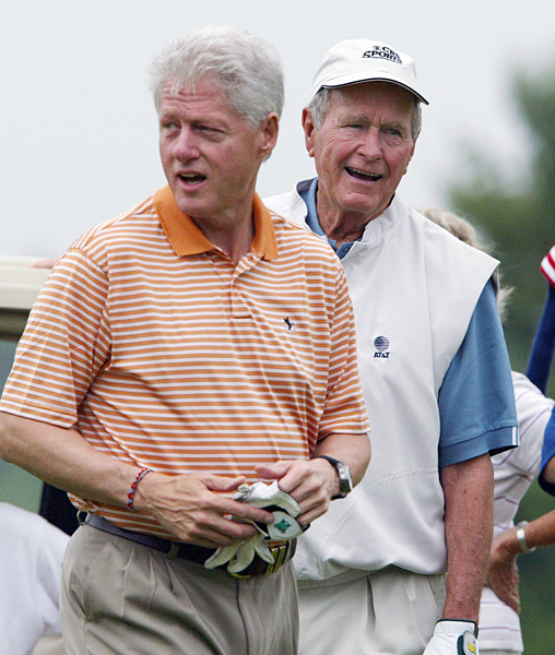 Clinton and Bush became close while working together to raise aid money after the devastating tsunami of 2004. They played a round in Kennebunkport, Maine, in June of 2005.