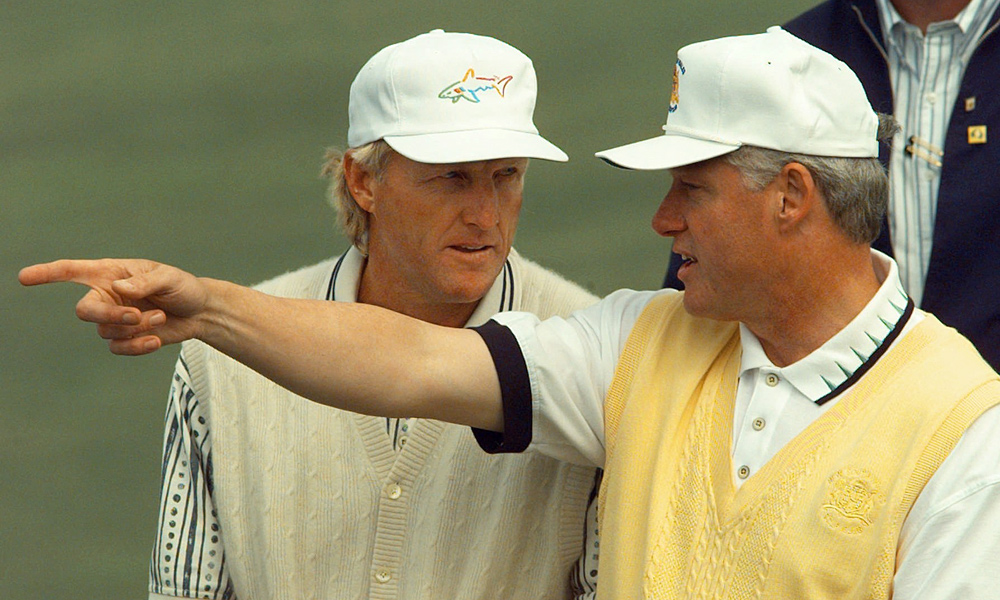 Clinton with Greg Norman at New South Wales Golf Club outside Sydney in 1996. Norman, who last played the Bob Hope Classic in 1986,  is playing the Humana Challenge this week because of Clinton's involvement.