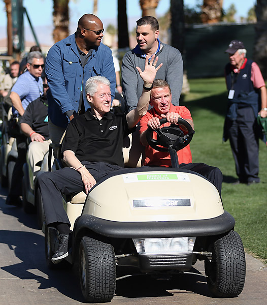 Former president Bill Clinton had a high-class chauffeur during the first round -- PGA Tour commissioner Tim Finchem. Clinton's foundation is the presenting sponsor of the event.