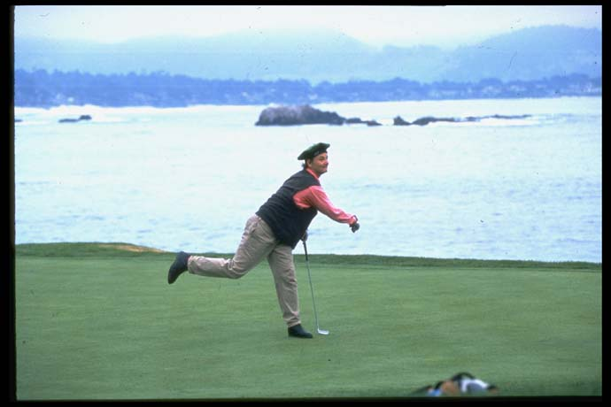 Bill Murray celebrates making a putt at the 1995 AT&T Pebble Beach National Pro-Am.