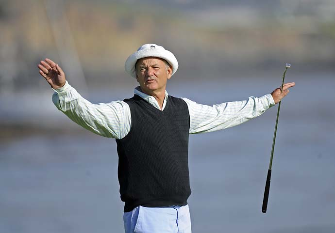 Bill Murray quiets the gallery on the 18th green during the second round of the Wal-Mart First Tee Open at Pebble Beach held at Pebble Beach Golf Links in August 2008.