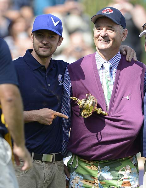Bill Murray attempts to steal the Ryder Cup with accomplice Justin Timberlake before the start of the 2012 Ryder Cup at Medinah, outside Murray's hometown Chicago.