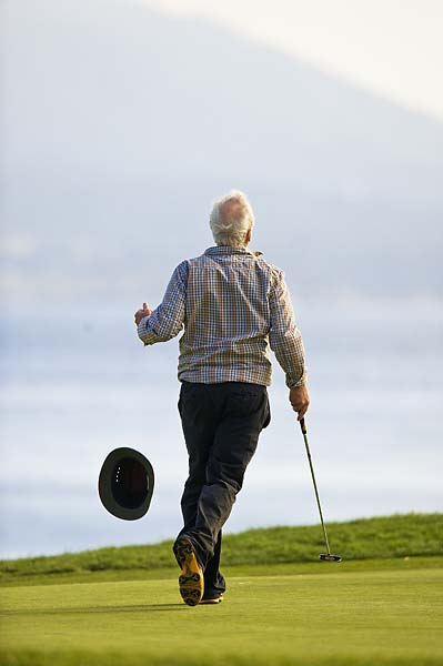 Bill Murray celebrates he and partner D.A. Points' win at the 2011 AT&T Pebble Beach National Pro-Am.