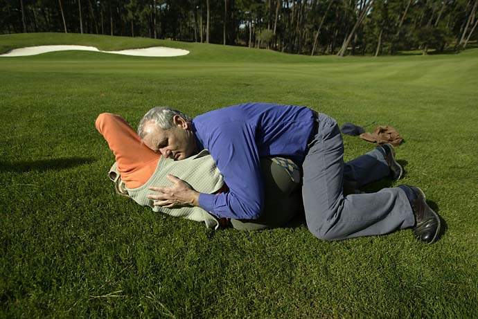 Bill Murray hugs Laura Davies during Friday play at the 2003 AT&T Pebble Beach National Pro-Am.