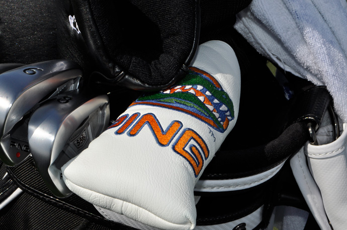 Billy Horschel plays Ping S56 irons and a Ping putter. The putter head cover shows off his alma mater, the University of Florida Gators.