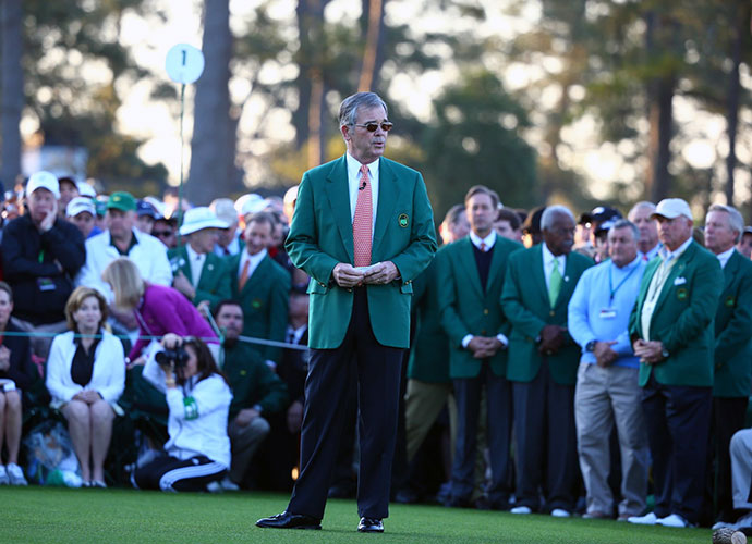 Augusta National chairman Billy Payne introduces 'The Big Three' for their honorary tee shots.