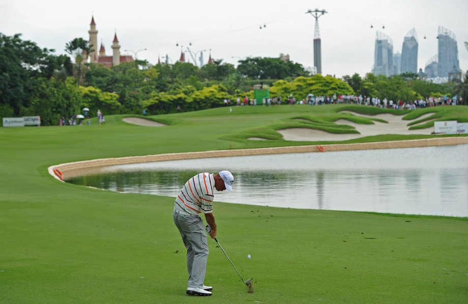 Thomas Bjorn held a one-shot lead when play was suspended.