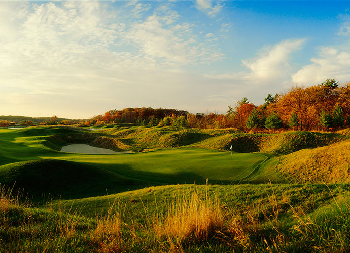 Blackwolf Run (River) Kohler, Wisc.; Pete Dye (1988) -- $270-$300, americanclubresort.com