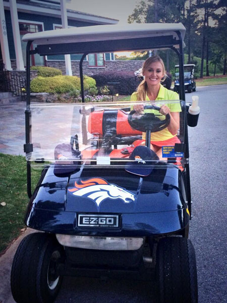 @BLAIRONEAL: orange & blue everything! @broncos #broncos #golf #golfcart #orangeandblue #football