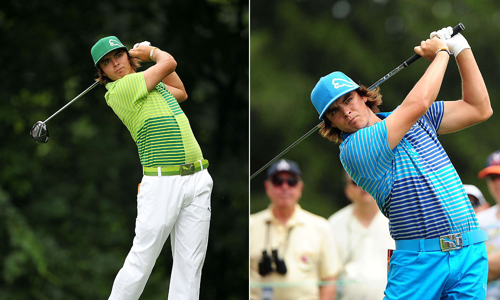 These two color-blocked golf shirts -- large graphic rectangles with stripes -- seem to explore many shades of green or blue (perhaps all of them) in a single garment.