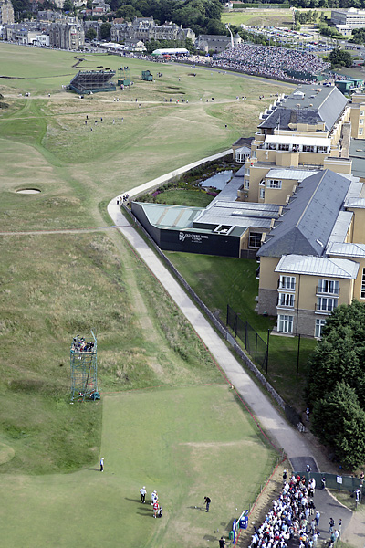 teeing off at the 17th hole during the 2005 Open. For the 2010 Open, the 17th, better known as the Road Hole, has been extended with a new tee box 35 yards back and to the right of the one pictured, making one of the hardest par-4's in golf even harder.