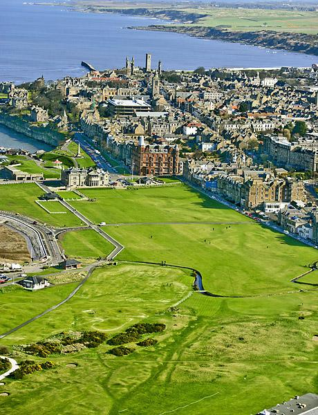 St. Andrews Old Course                           Aerial view of the 18th hole