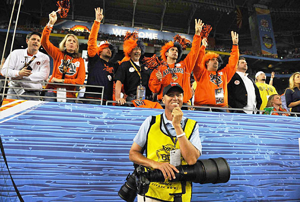 "Jim ""Bones"" Mackay worked as an SI photo assistant at the 2011 BCS title game."