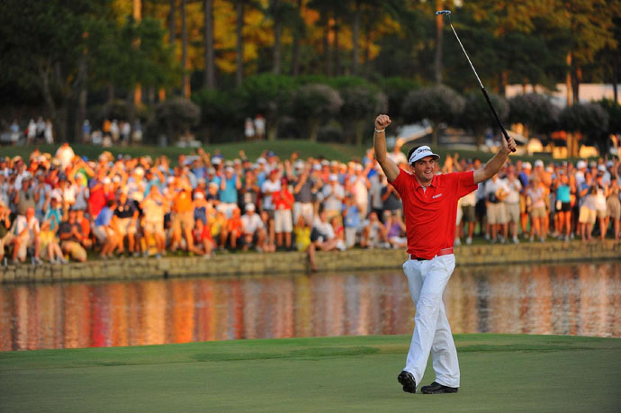 August 2011: Putter anchored to his navel, Keegan Bradley wins the PGA Championship, the first to seize a major with an anchored putting stroke. Let the grumbling begin anew.