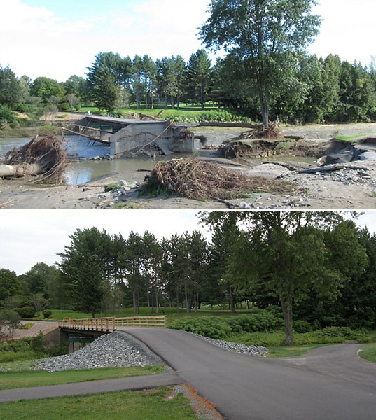 Hurricane Irene was the worst storm to hit Vermont in more than eight decades. One year later, the storm's scars are visible, but the state's golf courses have experienced a remarkable recovery. Here are some before and after photos from The Quechee Club's two courses, Lakeland and Highland.                                                      Shown above is a bridge that connects the two courses.                                                      More: Read the story on Vermont's recovery by Golf Magazine's Tom Mackin.