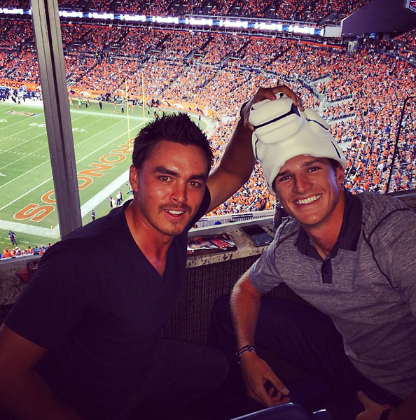"""Broncos game after the @bmwchampionship ! Lil celebration action before the Tour Champ!! @therealrickiefowler #letsroll"" --@morganhoffmannpga"