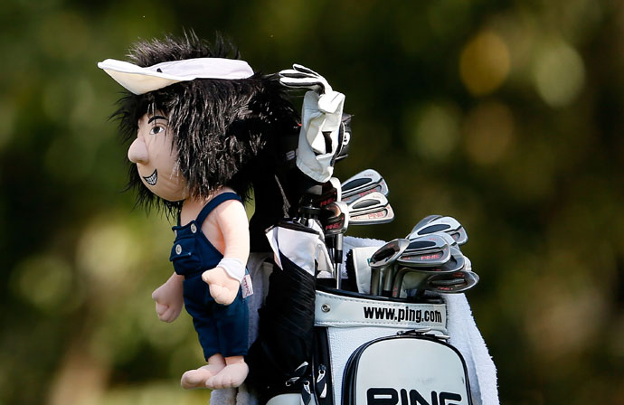 10: His headcover is a mini-BubbaBubba has a mini-Bubba guarding his driver, complete with white visor and blue overalls.