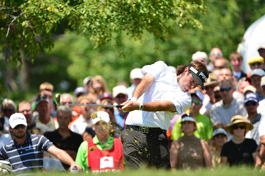 Bubba Watson moved into contention with a five-under 65.