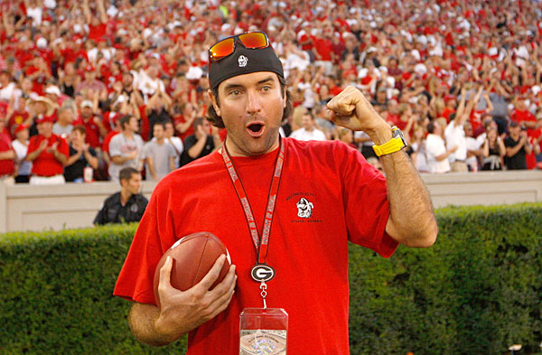 Bubba Watson watched his Georgia Bulldogs lose a nail-biter to South Carolina in 2011.