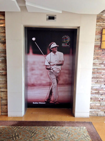 @bubbawatson: Just got to China & the hotel elevator has this guy on it!! #urwelcome