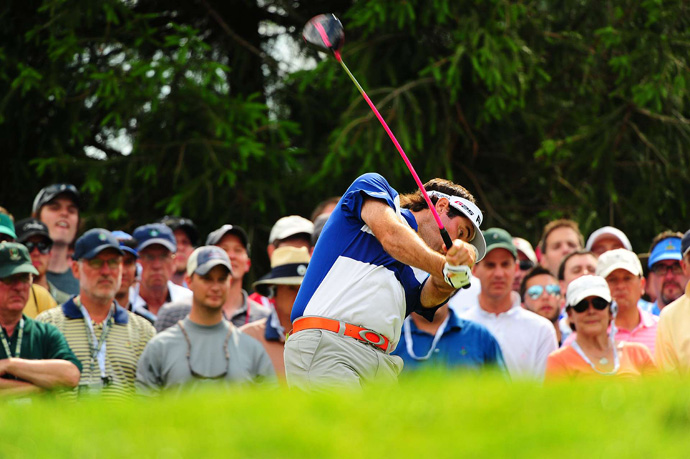 Bubba Watson was in the hunt until a double bogey on 9 and a triple bogey on 10. He finished with a 76.