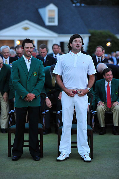Charl Schwartzel, the 2011 champion, presented Watson with his green jacket at the ceremony.