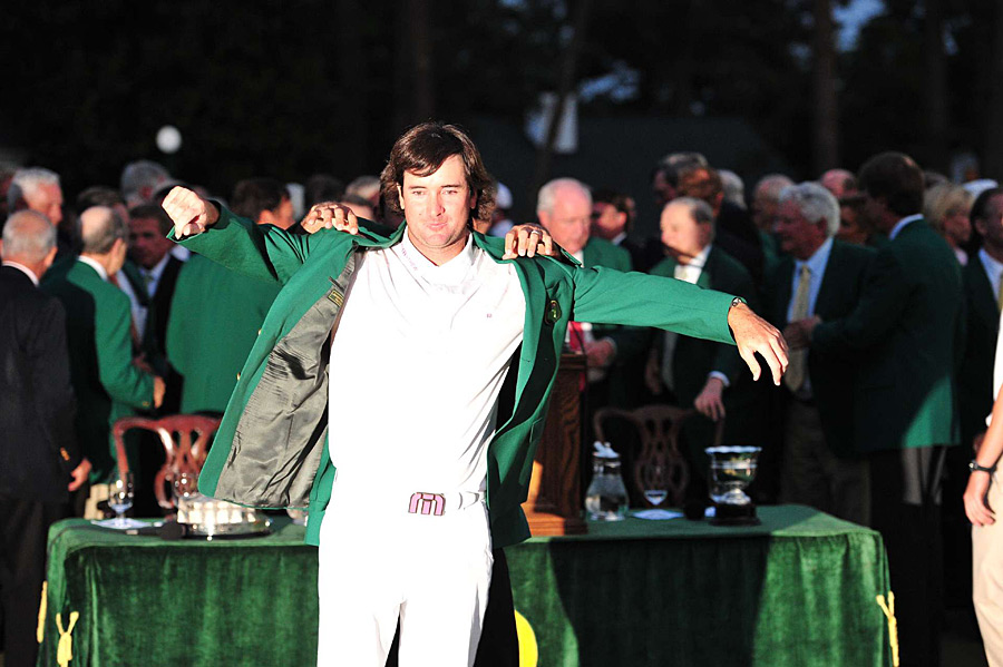 "Bubba Watson defeated Louis Oosthuizen on the second playoff hole to win the 2012 Masters. ""As an athlete, as a golfer, this is the Mecca,"" Watson said. ""This is what we strive for, to put on the green jacket."""