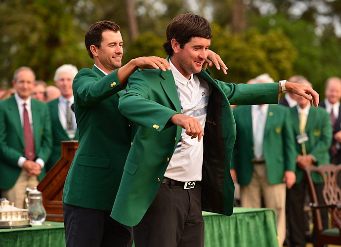 2013 Masters champion Adam Scott gave Watson his second green jacket in the post-round ceremony at Augusta National.