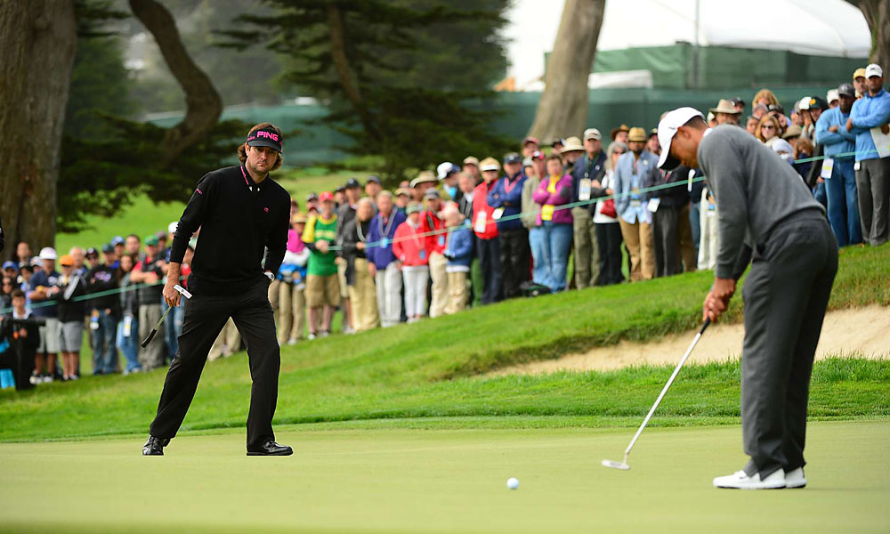 Woods made three birdies and two bogeys in the first round.