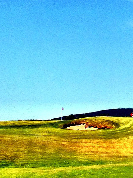 """""""@eamonlynch: The bunker fronting 15, from which @stephaniewei needed 10 swings to escape last year."""""""