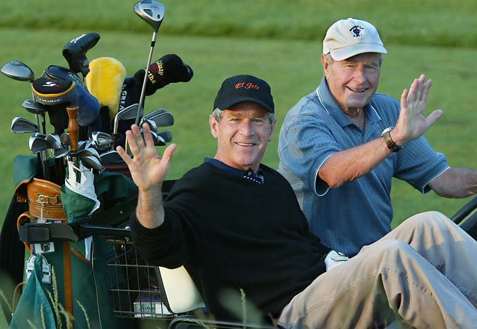 """To be able to get outside and play golf with some of your pals is important for the president. It is a good outlet.""                           --Former President George W. Bush on why President Barack Obama shouldn't be criticized for playing golf. Photo of Bush and President George H.W. Bush in Kennebunkport, Maine, in 2002."