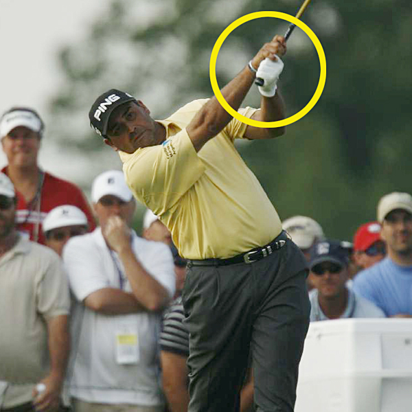 The law of the long arm                                               The result of Angel's free release is evident well past impact. His right hand is on top of his left and his right arm is fully extended. When you try it, you should feel like your clubhead is pulling your right arm out of its socket. The straight line between the clubshaft and his right arm is a move every recreational player should copy.                                              While the rest of the leaderboard caved in to pressure on Sunday, Cabrera continued to swing aggressively like this and play his fade. He remained confident in what he was trying to achieve, rather than fearful of what may go wrong. Place trust in your ball flight like Angel did and you'll never go wrong.
