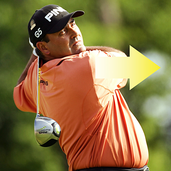 Finish in a Full Nelson                                              Despite his husky build, Angel finishes his swing like a young, flat-bellied kid. The confidence in his slight fade allows, and even requires, a full release of both body and club during impact. Notice how Cabrera points his right shoulder at the target in his follow-through, with his hands behind his head and with most of his weight on his front foot. This move is similar to one Larry Nelson made throughout his career and at Oakmont in 1983. Angel swings as hard as his balance allows. Copy his lead and make the fastest swing you can that still enables you to remain balanced and athletic.