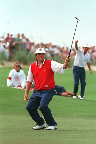 "Always an emotional player, Mark Calcavecchia was smack in the middle of one of history's most tension-packed Ryder Cups, 1991's ""War by the Shore,"" at Kiawah Island Resort's Ocean course near Charleston, S.C. Four up with four holes to play in his Sunday singles match against Colin Montgomerie, Calc lost all four holes to halve his match, suffering a near-shank, and missed 2-foot putt, at the par-3 17th. He retreated to the nearby beach in tears."