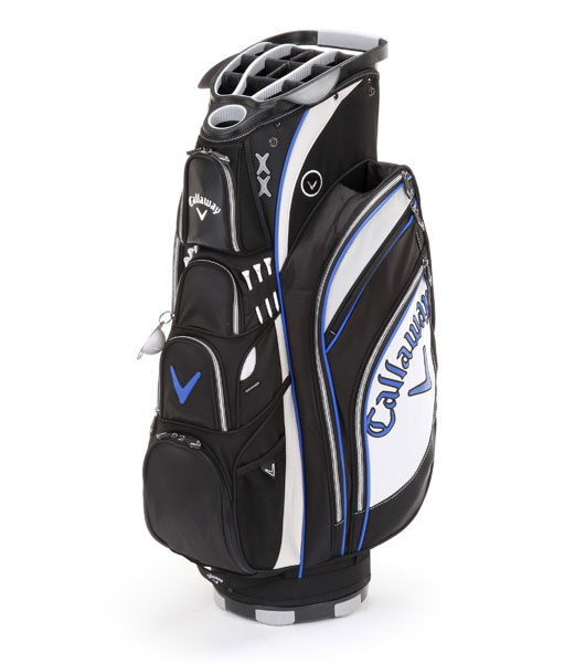 "Callaway Org 14X, ( $200; Buy it Now)                           Ten forward-facing pockets guarantee that storage needs are met, while a concealed strap tunnel and Callaway's ""Strap Bite"" technology provide stability and prevent twisting when the bag is on the cart. An umbrella holder, mesh water-bottle pockets and an integrated putter well round out the offerings."
