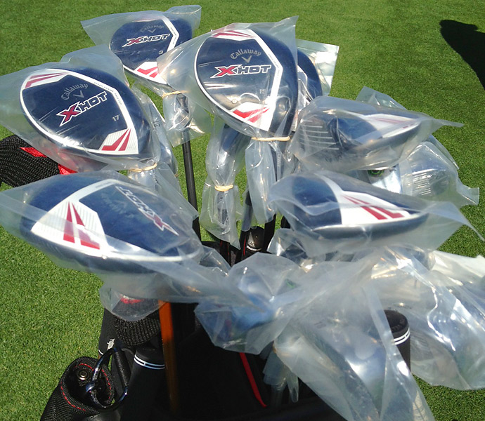 Callaway's new X Hot Fairway Woods are available for players in the field to try on the range at the Northern Trust.