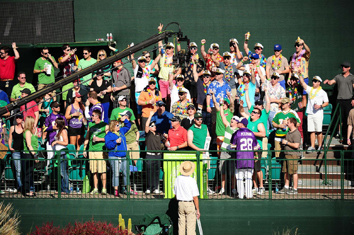 The fans had no problem showing off for the camera.