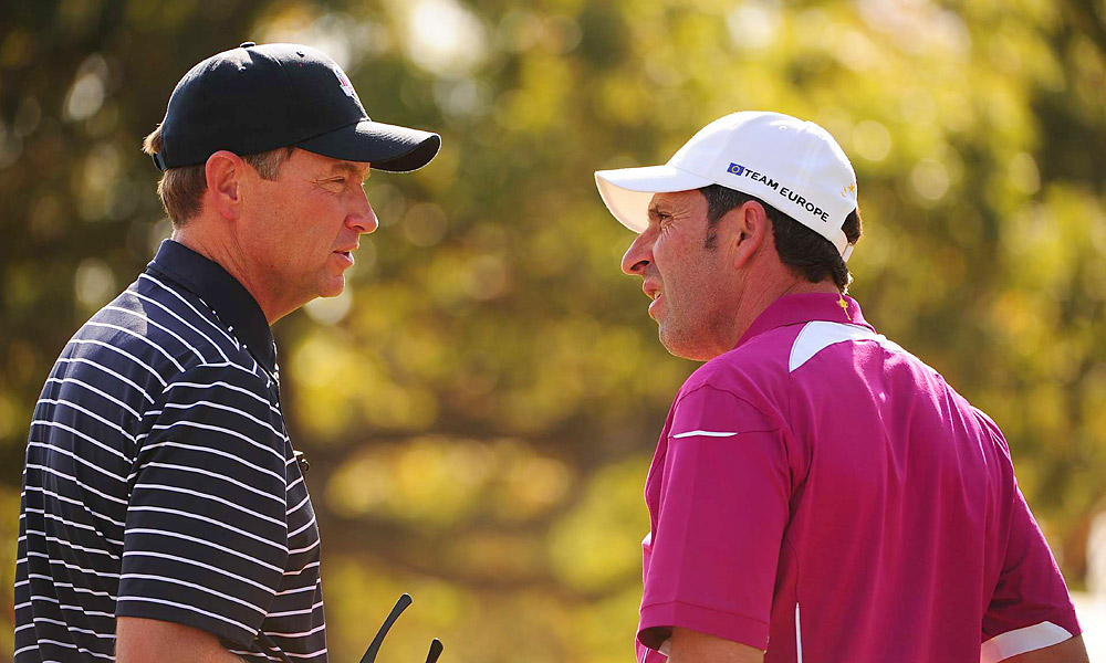 Captains Davis Love III (left) and Jose Maria Olazabal on the course Saturday afternoon.