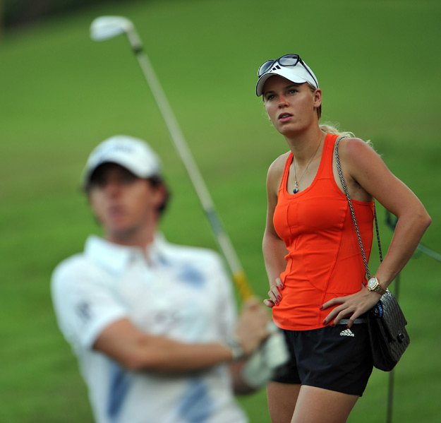 Caroline Wozniacki was in McIlroy's gallery on Friday.